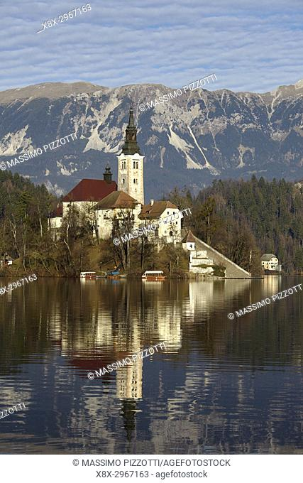 View of Lake Bled and the Church of Mary the Queen, located on a small island in the middle of the lake, Bled, Slovenia