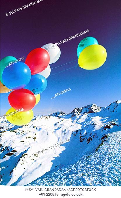 Balloons in Ski Resort. France
