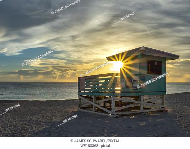 Sunset over the Gulf of Mexico from Venice Beach in Venice Florida