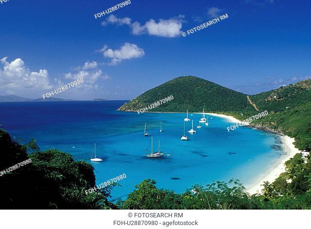 Jost Van Dyke, British Virgin Islands, Caribbean, BVI, Scenic view of the beach and boats anchored in White Bay on Jost Van Dyke Island on the Caribbean Sea