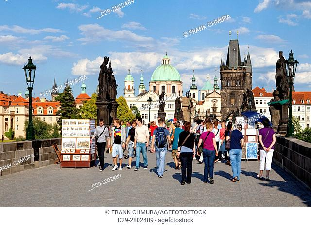 Czech Republic, Prague - Charles Bridge and spires of the Old Town