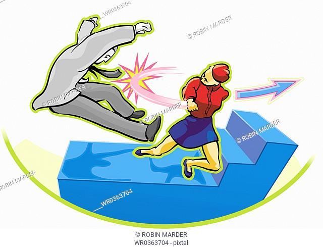 Woman Fighting a Man