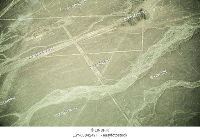 Mysterious Nazca lines on desert in Peru, South America