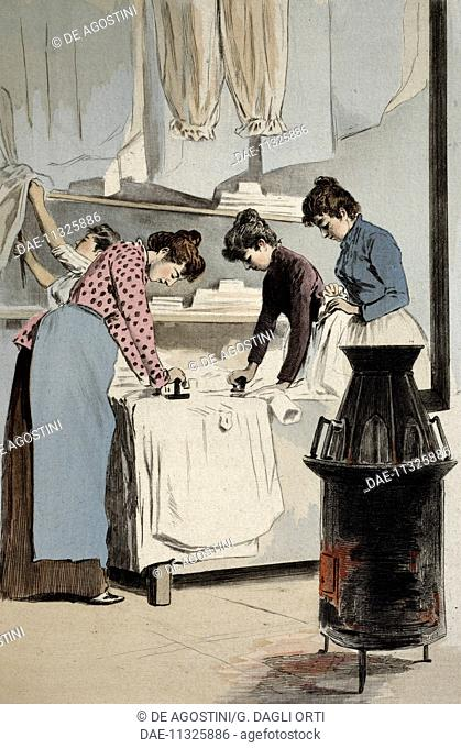 Ladies ironing, engraving by Frederic Masse, painting by Pierre Vidal (1849-1929), from La Femme a Paris nos contemporaines, Octave Uzanne magazine (1851-1931)