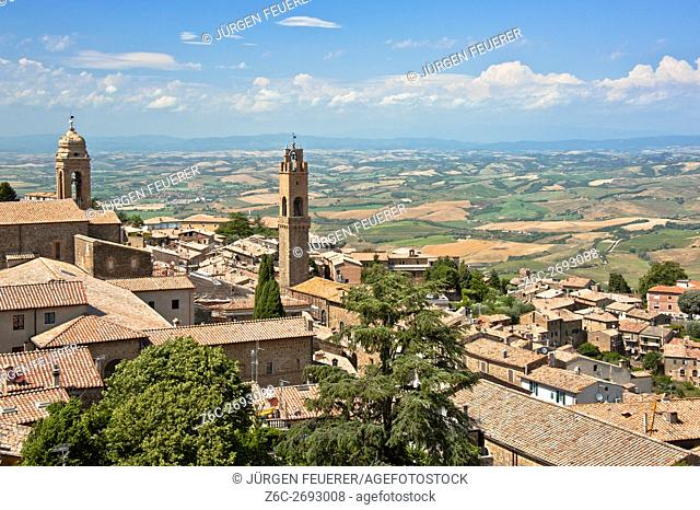 panoramic view of Tuscan town Montalcino and surrounding landcsape, situated on a hill, Tuscany, Italy, province Siena