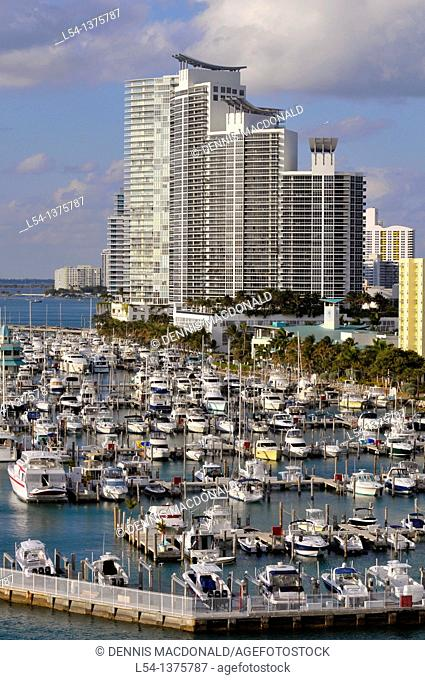 Pleasure boats in Miami Florida harbor