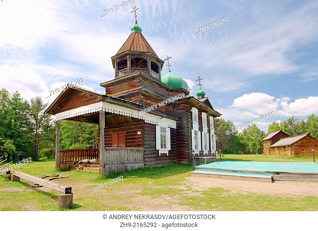 "Troitsk orthodox church, """"Taltsa's"""" (Talzy) - Irkutsk architectural and ethnographic museum. Baikal, Siberia, Russian Federation"