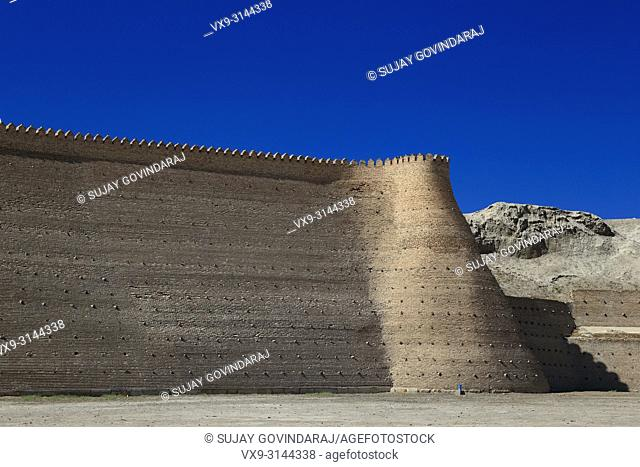 Walls of Great Ark Fortress of Bukhara, a renowned heritage site of Silk Road time in Uzbekistan