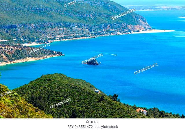 Summer sea coast landscape. View from Nature Park of Arrabida in Setubal, Portugal