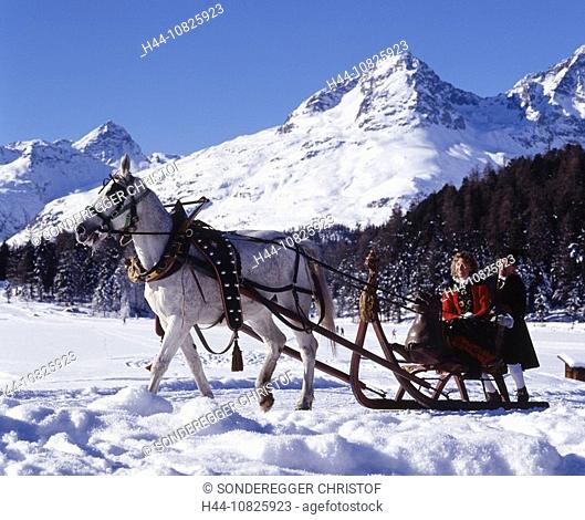horse sledges, winter, sledges, sleighs, horse, car carriage, Couple, national costume, folklore, Celerina, snow, moun