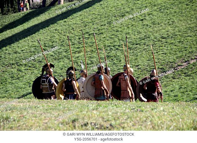 Rome, Italy 14th September 2013- Ludi Romani- Spartan soldiers at the 4th International festival of Roman Culture and Civilisation at the Circus Maximus in Rome...