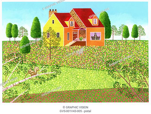 Illustration of House in a Meadow with Flowers