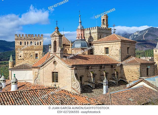 View of historic building roofs of Guadalupe, Caceres, Extremadura, Spain