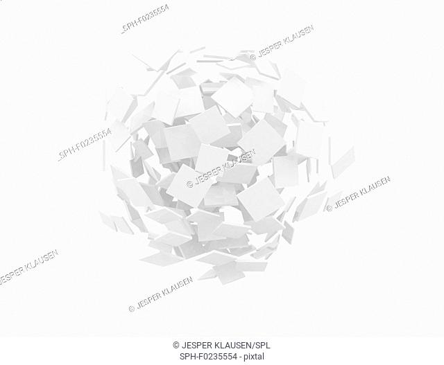 Abstract sphere made of blank white squares, illustration