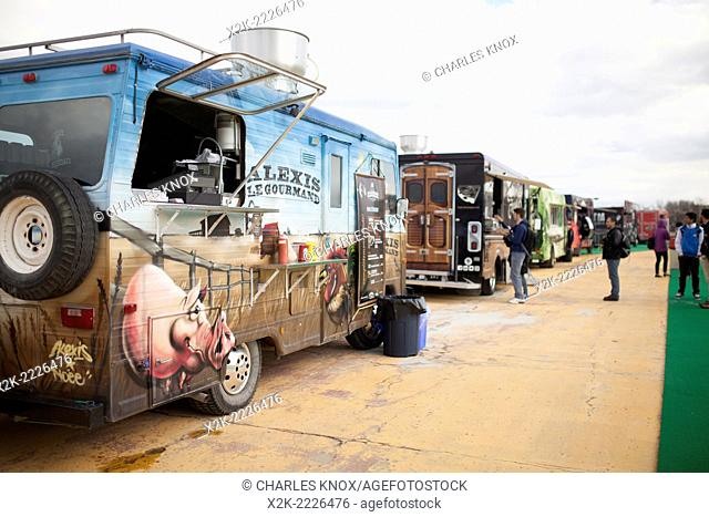 Outdoor foodtruck event to start off the season, Montreal, Quebec, Canada