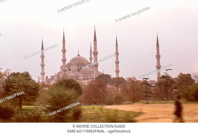 View of the 6 minarets of the Sultan Ahmed Mosque, also known as the Blue Mosque, in Istanbul, Turkey, November, 1973
