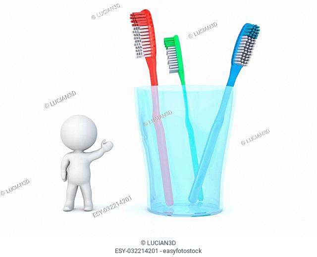 A 3D character showing a glass with three toothbrushes. Isolated on white background
