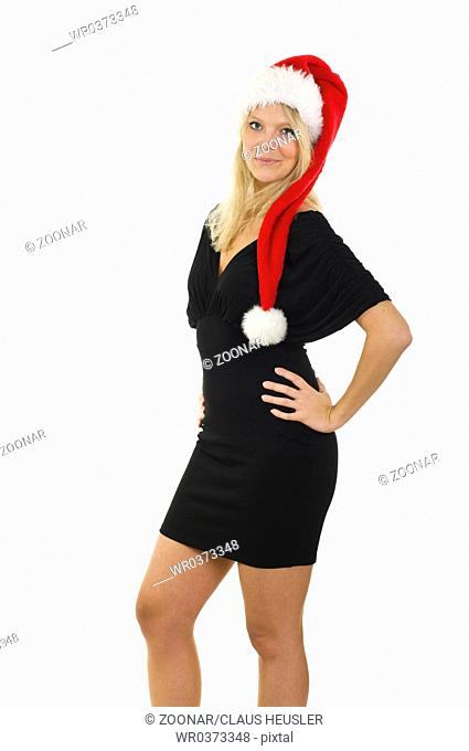 young blonde woman dressed up for Christmas