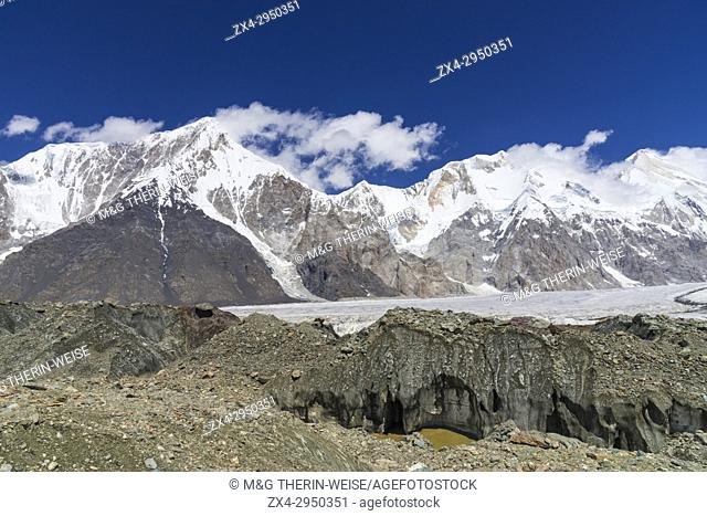 Pabeda-Khan Tengry glacier massif, View from Base Camp, Central Tien Shan Mountain Range, Border of Kyrgyzstan and China, Kyrgyzstan, Asia