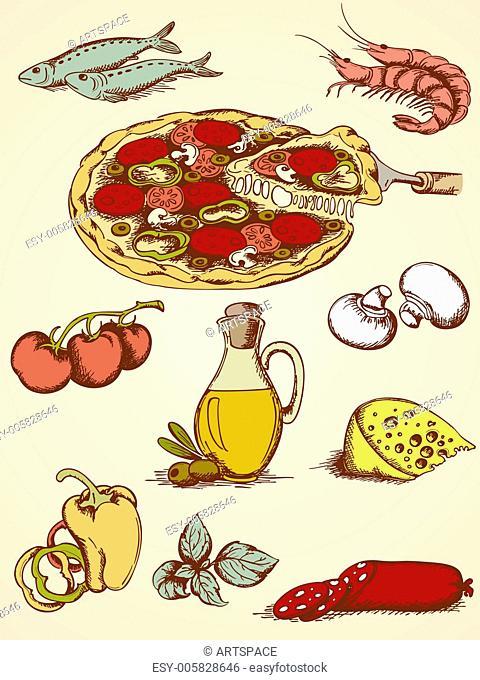 hand drawn pizza set
