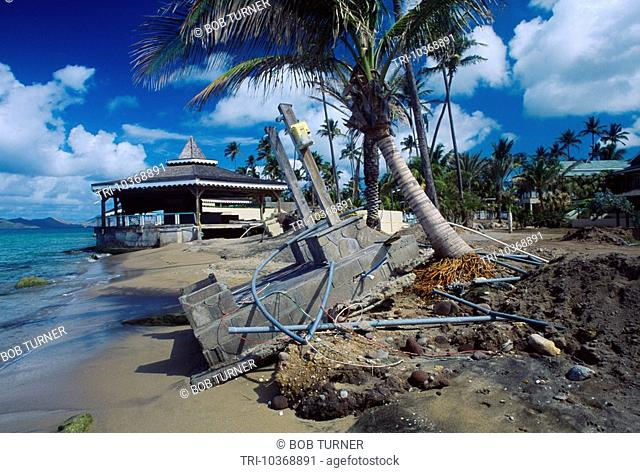 Nevis Pinney's Beach Hurricane Damage