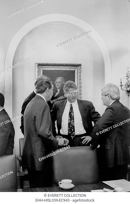 President Bill Clinton meet with Republican Congressional leaders in 1993. L-R: Senate Minority Leader, Bob Dole; President Clinton; House Minority Whip
