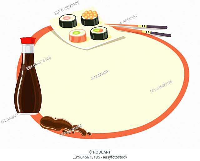 Circle with red frame and soy sauce bottle, set of sushi on square plate and chopsticks near on white. Even round label with space inside and traditional...
