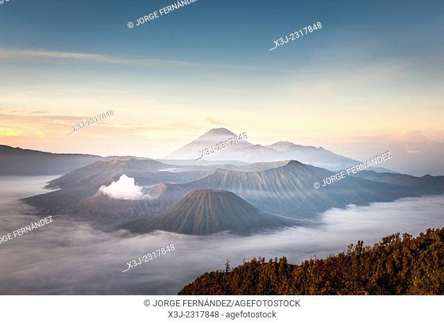 Misty sunrise over Gunung Bromo, Indonesia
