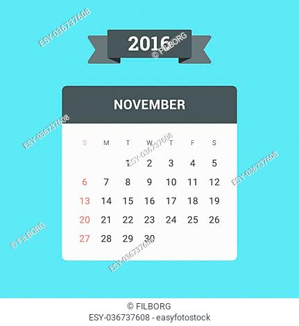 November Calendar 2016. Vector flat design template, ready to print