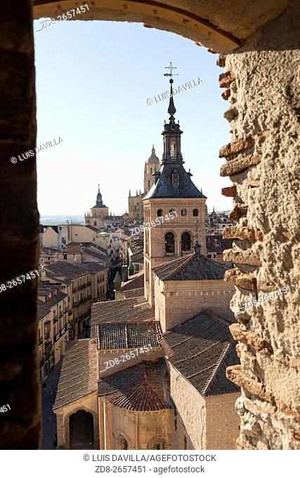 segovia from lozoya tower with san martin church and cathedral. spain