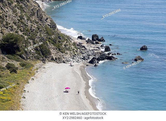 near Nerja and Maro, Costa del Sol, Malaga Province, Andalusia, southern Spain. Playa las Alberquillas in the protected Paraje Natural Acantilados de Maro-Cerro...