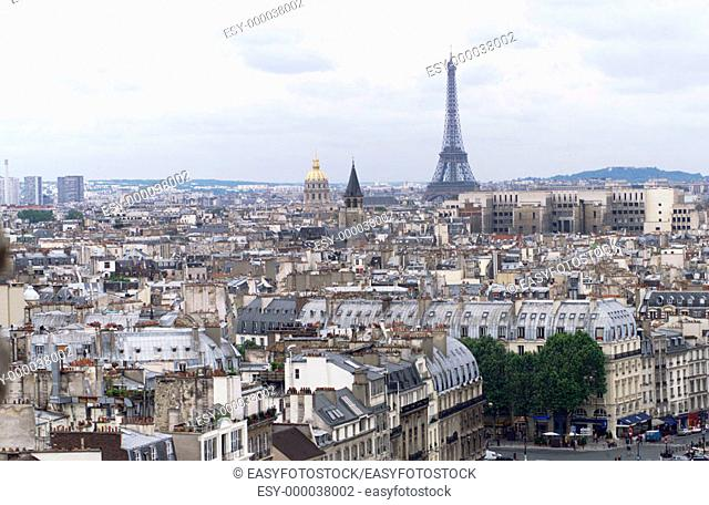 Eiffel Tower and city of Paris, France