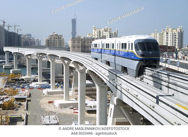 Monorail train on it's way to Atlantis hotel on The Palm Jumeira in Dubai