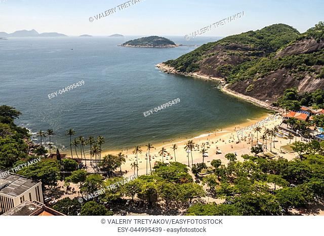 Arial view of famous Praia Vermelha Beach, Rio de Janeiro, Brazil
