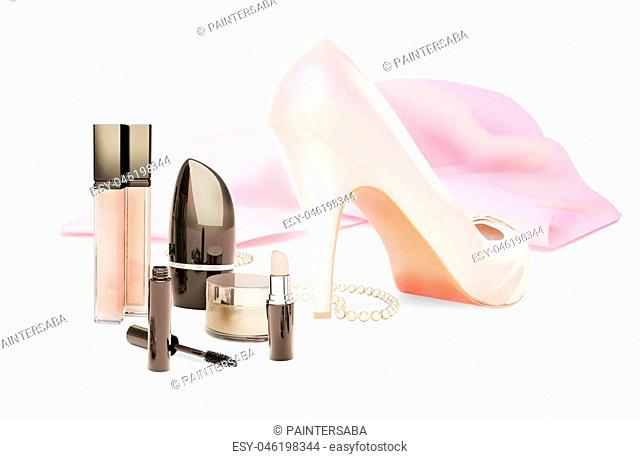woman fashion accessories isolated on white
