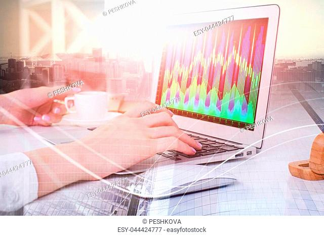 Side view of hands typing on laptop keyboard on abstract city background with forex chart. Communication, technology and economy concept