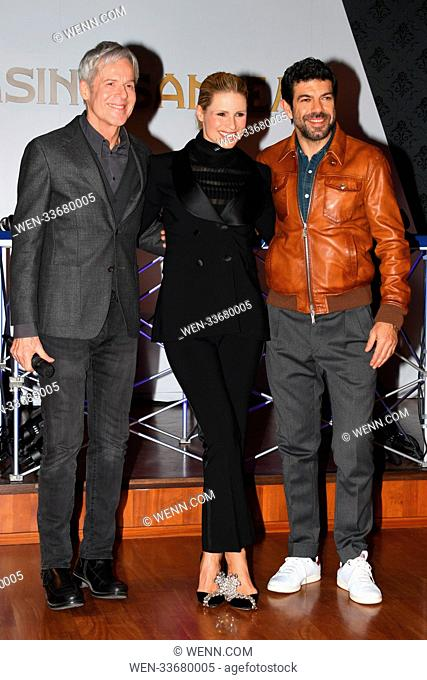 68th Annual Sanremo Music Festival - Press party Featuring: Michelle Hunziker, Pierfrancesco Favino, Claudio Baglioni Where: Sanremo