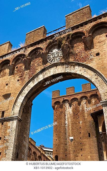 city gate Porta Romana from 1327, located at Via Roma and Via E S  Piccolomini, Siena,Tuscany, Central Italy