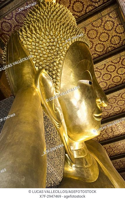 Golden big Buddha, in Wat Pho or Wat Phra Nakhon temple in Bangkok, Thailand