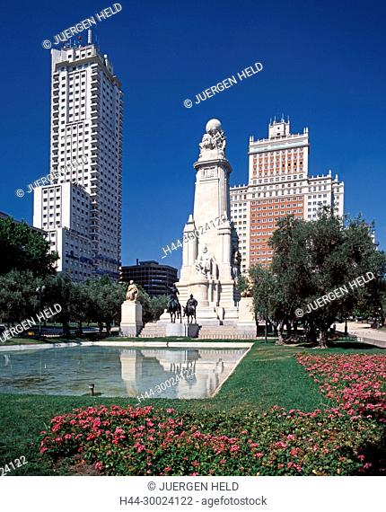 Don Quichotte und Sancha Pansa Denkmal, Cervantes, Plaza Espana, Madrid, Spanien