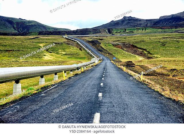 inland of Iceland, on a road number 435 to Nesjavellir - Geothermal station, near Thingvellir , Southwestern Iceland