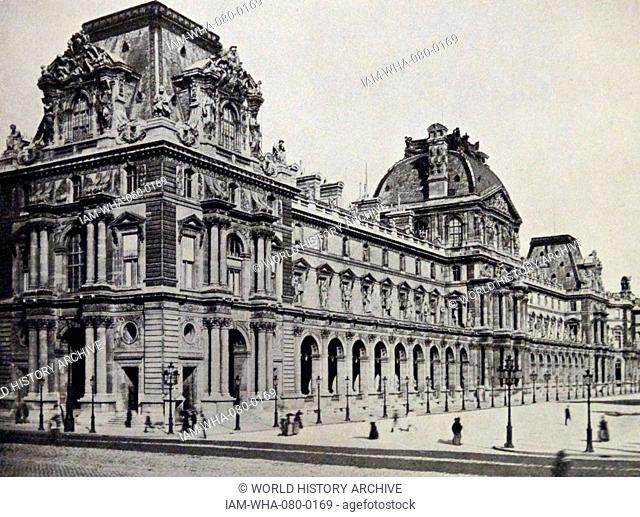 The exterior of the Louvre Palace, a former royal palace located on the Right Bank of the Seine in Paris. Dated 19th Century