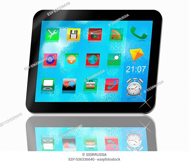 Abstract tablet with colored icons for designers for various necessities
