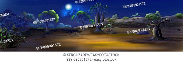 Digital painting of the night in savanna. Panorama view with moon, cactus and trees