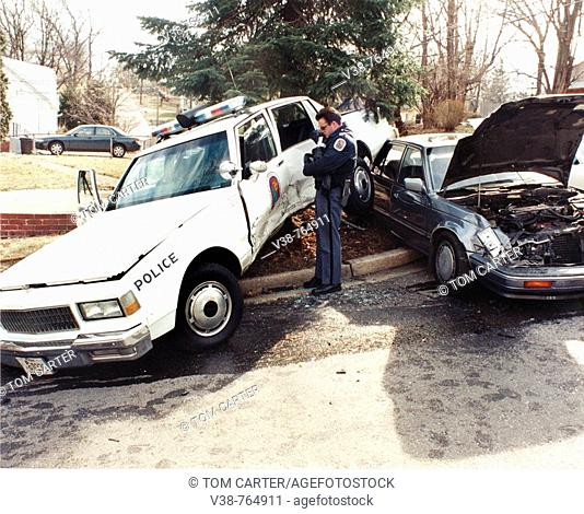 police investigate an auto accident involving a police car in Capital Heights, Maryland