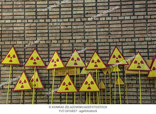 Radiation signs painting place in Pripyat abandoned city, Chernobyl Exclusion Zone, Ukraine