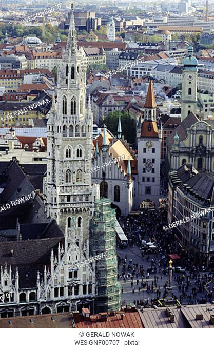 View over Marienplatz, Munich, Bavaria, Germany
