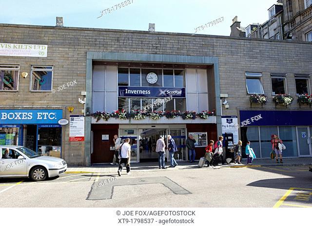 entrance to inverness train station highland scotland uk