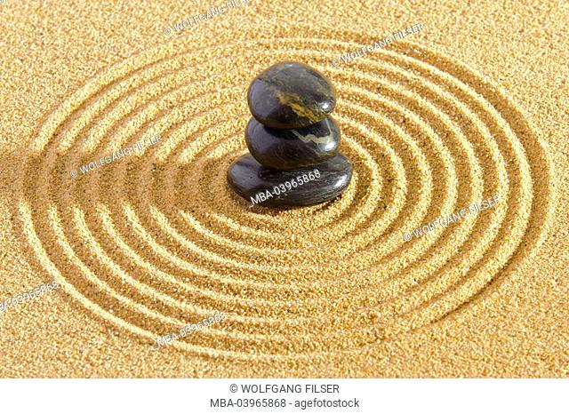 Japanese ZEN garden with stone and Sand