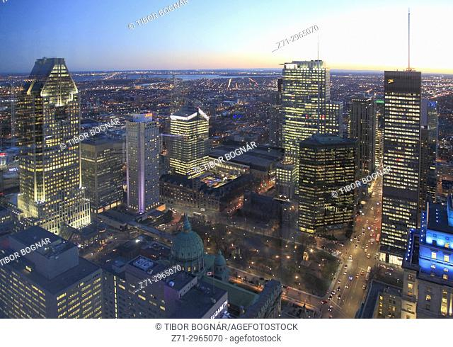 Canada, Quebec, Montreal, Place du Canada, skyline, aerial view, night,